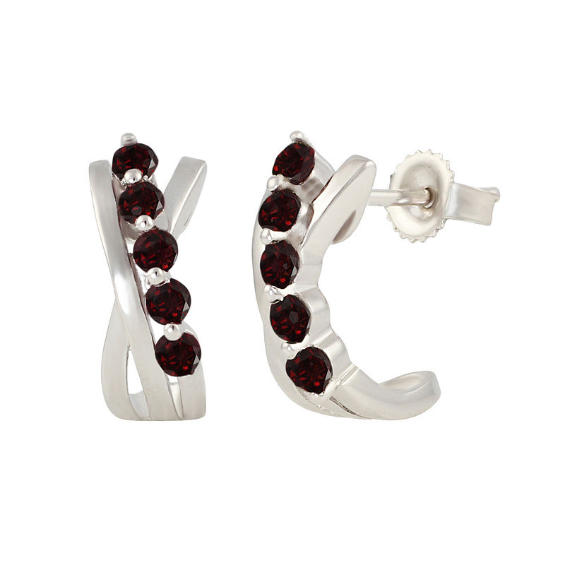 Red Garnet Sterling Silver Hoop Earrings