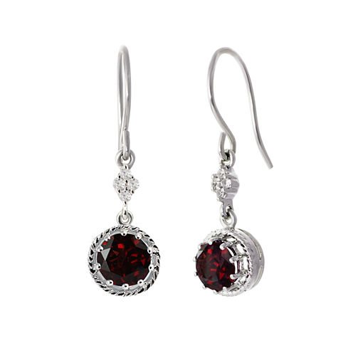 Red Garnet Sterling Silver Drop Earrings