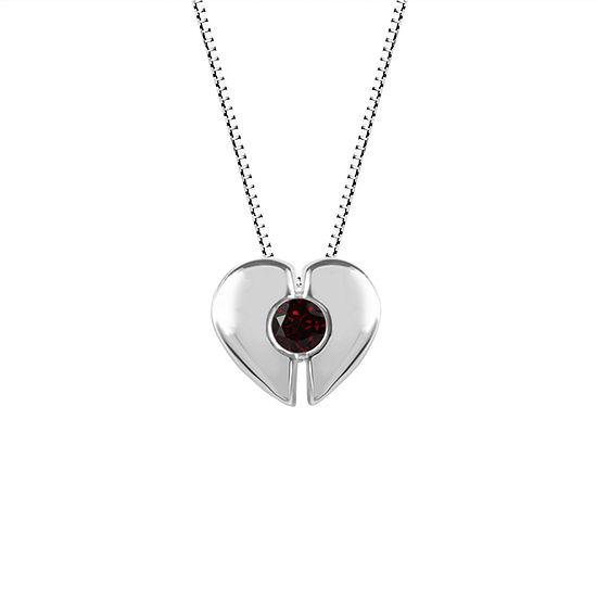 Womens Genuine Red Garnet Sterling Silver Heart Pendant Necklace