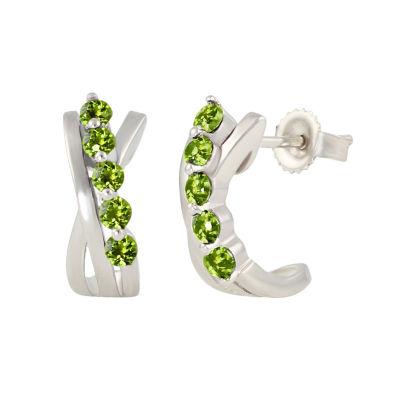 Genuine Green Peridot Sterling Silver 13.4mm Hoop Earrings
