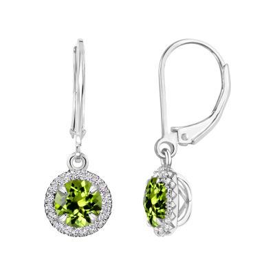 Genuine Green Peridot Sterling Silver Drop Earrings