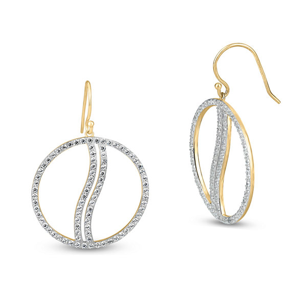 White Cubic Zirconia Gold Over Silver Drop Earrings