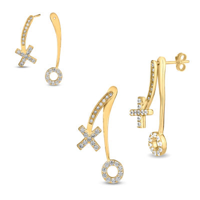 White Cubic Zirconia 18K Gold Over Silver Drop Earrings