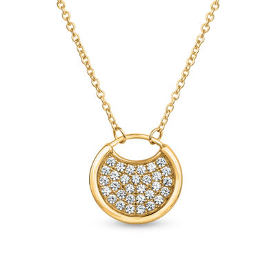 18K Gold over Silver 3-in-1 Cubic Zirconia Circle Necklace