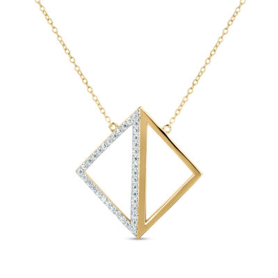 18K Gold over Silver 3-in-1 Cubic Zirconia Square Necklace