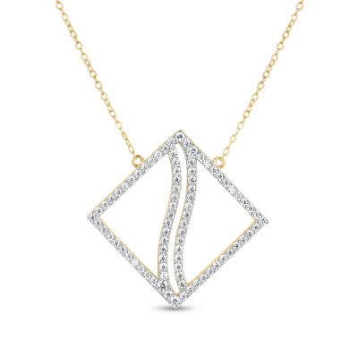 18K Gold over Silver 3-in-1 Cubic Zirconia Square Wave Necklace