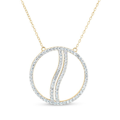 18K Gold over Silver 3-in-1 Cubic Zirconia Circle Wave Necklace