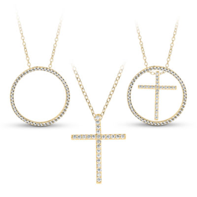18K Gold over Silver 3-in-1 Cubic Zirconia Circle Cross Necklace