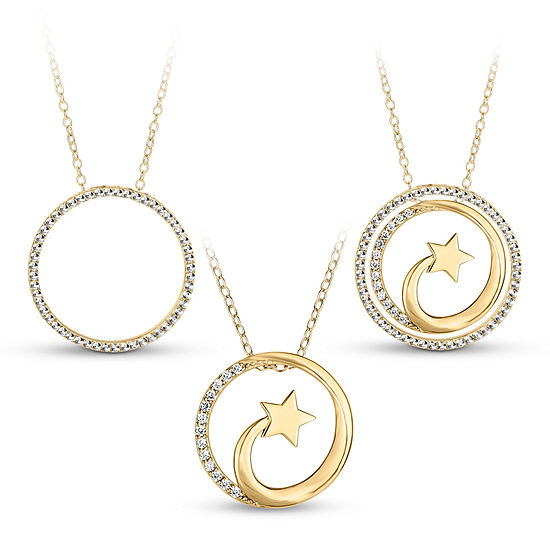 18k Gold Over Silver 3 In 1 Cubic Zirconia Shooting Star Necklace