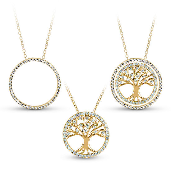18K Gold over Silver 3-in-1 Cubic Zirconia Tree of Life Necklace