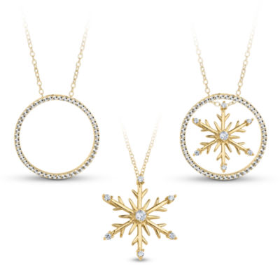 18K Gold over Silver 3-in-1 Cubic Zirconia Snowflake Necklace