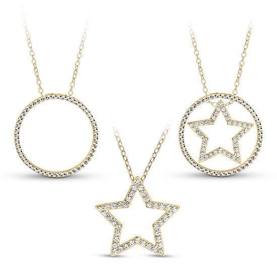 18k Gold Over Silver 3 In 1 Cubic Zirconia Circle Star Necklace
