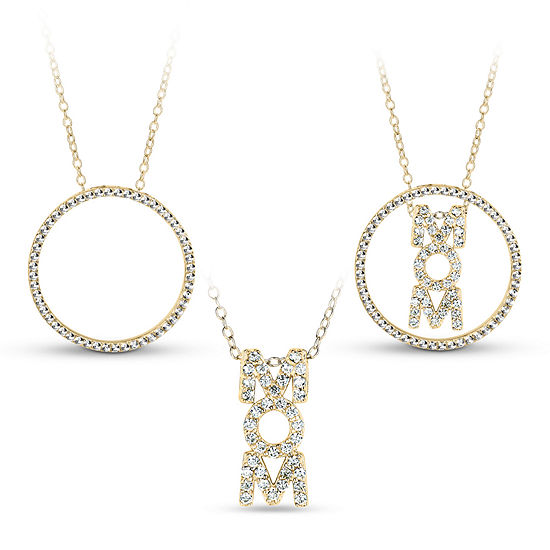 18K Gold over Silver 3-in-1 Cubic Zirconia Circle Mom Necklace