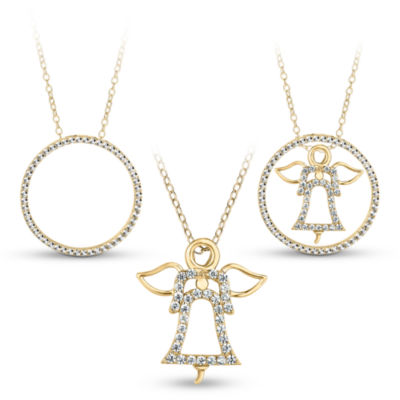 18K Gold over Silver 3-in-1 Cubic Zirconia Circle Angel Necklace