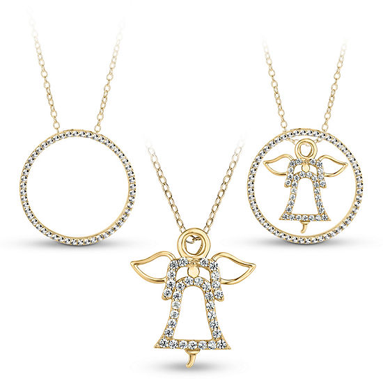 18k Gold Over Silver 3 In 1 Cubic Zirconia Circle Angel Necklace