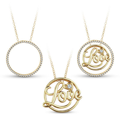 18K Gold over Silver 3-in-1 Cubic Zirconia Circle Love Necklace