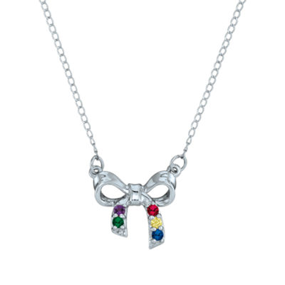 Personalized Simulated Birthstone Bow Pendant Necklace