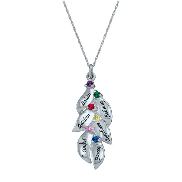 Personalized Simulated Birthstone Leaves Pendant Necklace