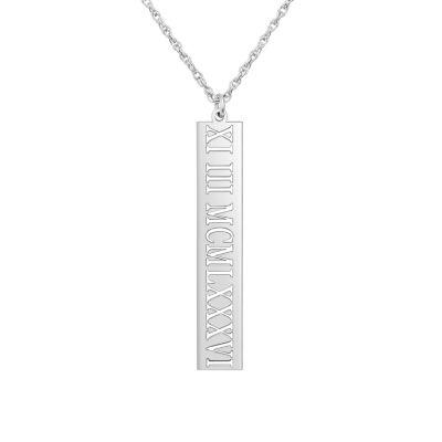 Personalized Roman Numeral Date Pendant