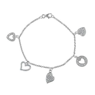Womens White Cubic Zirconia Sterling Silver Charm Bracelet