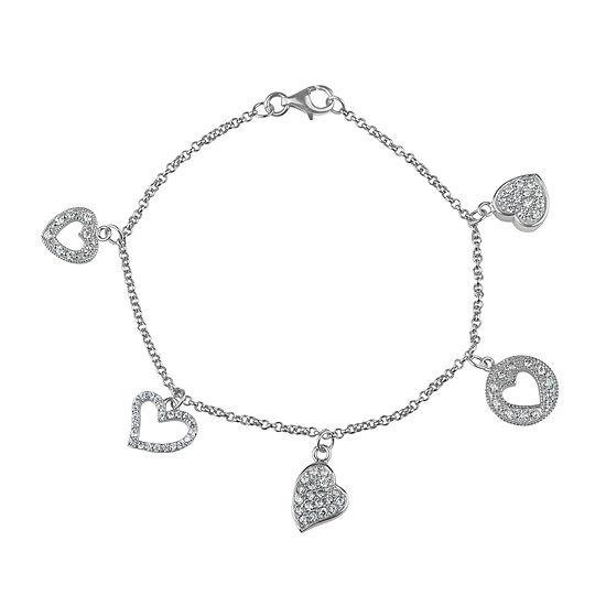 White Cubic Zirconia Sterling Silver Charm Bracelet