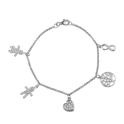White Cubic Zirconia Sterling Silver Charm Bracelet