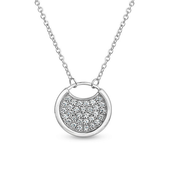 Sterling Silver 3-in-1 Cubic Zirconia Circle Drop Necklace
