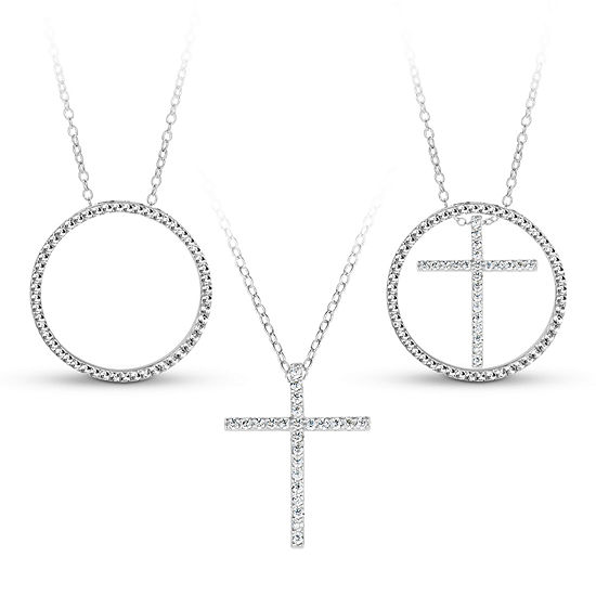 Sterling Silver 3-in-1 Cubic Zirconia Circle Cross Necklace