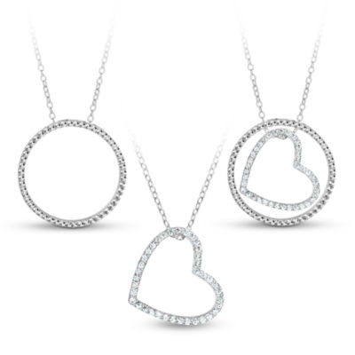 Sterling Silver 3-in-1 Cubic Zirconia Circle Heart Necklace