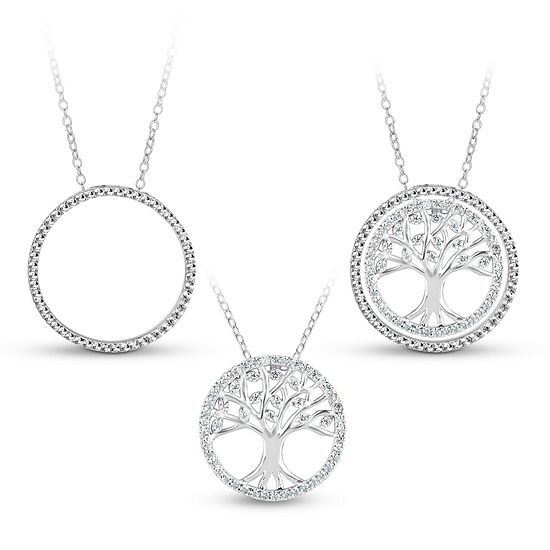 Sterling Silver 3 In 1 Cubic Zirconia Tree Of Life Necklace