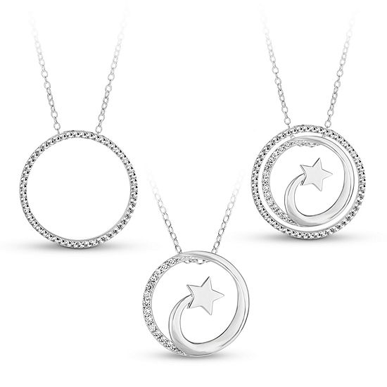 Sterling Silver 3-in-1 Cubic Zirconia Shooting Star Necklace