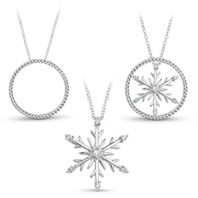 Sterling Silver 3-in-1 Cubic Zirconia Snowflake Necklace