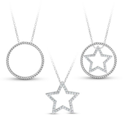 Sterling Silver 3-in-1 Cubic Zirconia Circle Star Necklace