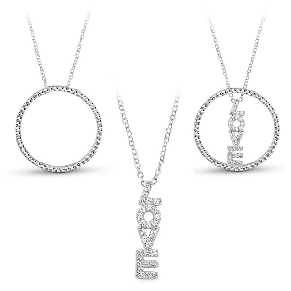 Sterling Silver 3-in-1 Cubic Zirconia Circle Love Necklace