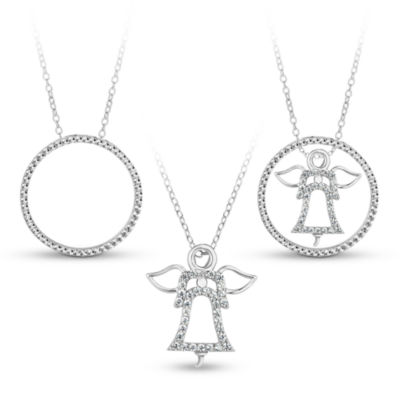 Sterling Silver 3-in-1 Cubic Zirconia Circle Angel Necklace