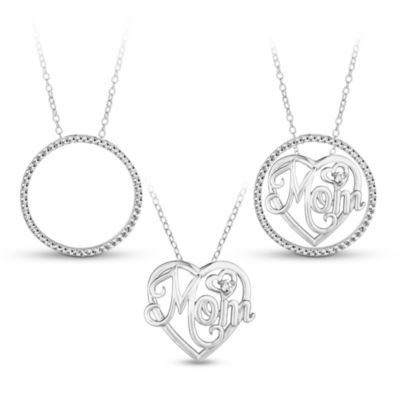 Sterling Silver 3-in-1 Cubic Zirconia Circle Mom Necklace