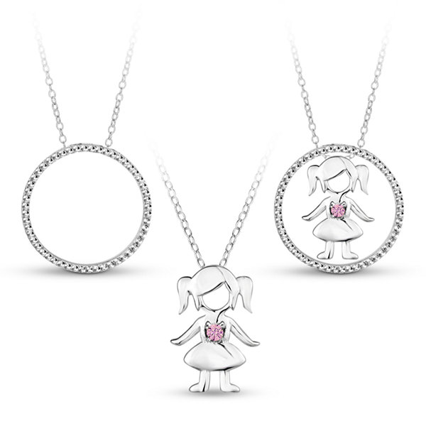 Sterling Silver 3-in-1 Cubic Zirconia Circle Girl Necklace