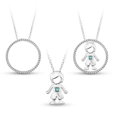 Sterling Silver 3-in-1 Cubic Zirconia Circle Boy Necklace