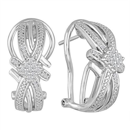 1/10 CT. T.W. White Diamond Sterling Silver Drop Earrings