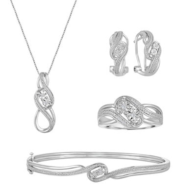 4-pc. 1/5 CT. T.W. White Diamond Silver Over Brass Jewelry Set