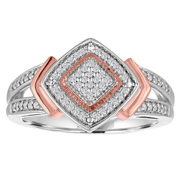 Womens 1/10 CT. T.W. Diamond Sterling Silver & 14K Rose Gold Over Silver Ring