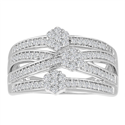 Diamond Blossom Womens 1/2 CT. T.W. White Diamond Sterling Silver Cocktail Ring