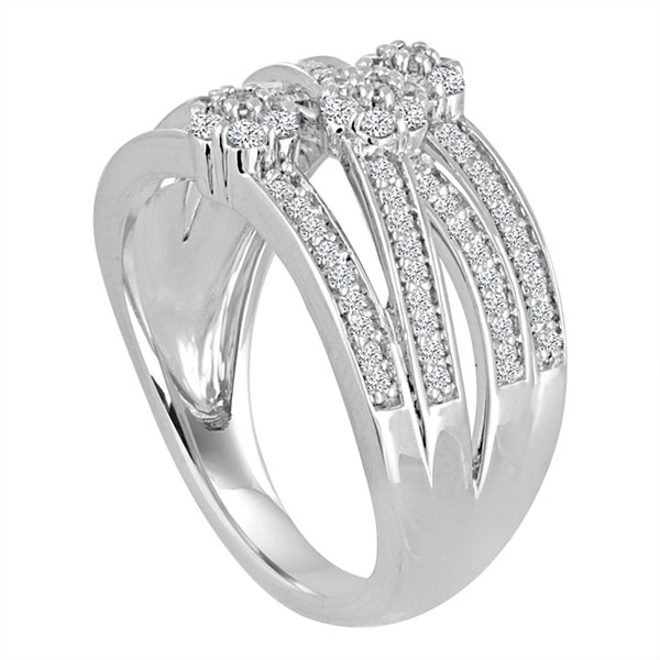 Diamond Blossom Womens 1/2 CT. T.W. Genuine White Diamond Sterling Silver Cocktail Ring