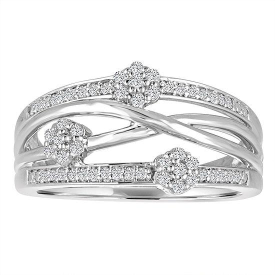 Diamond Blossom Womens 1/4 CT. T.W. Genuine White Diamond Sterling Silver Cocktail Ring