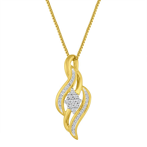 1/10 CT. T.W  Diamond 14K Gold Over Silver Pendant Necklace