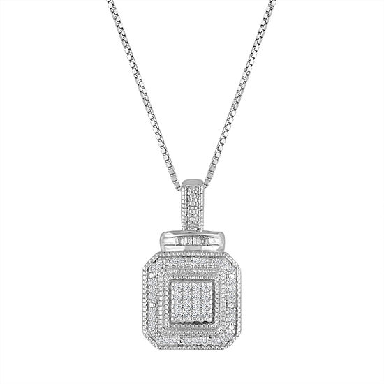 1/10 CT. T.W. White Diamond Sterling Silver Pendant Necklace