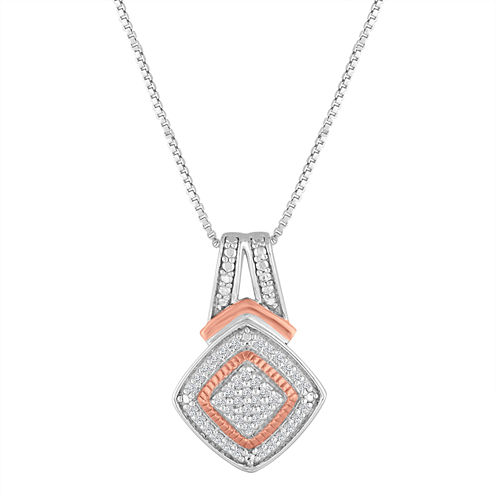 1/10 CT. T.W. Diamond Sterling Silver & 14K Rose Gold Over Silver Pendant Necklace