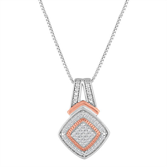 1 10 Ct Tw Diamond Sterling Silver 14k Rose Gold Over Silver Pendant Necklace