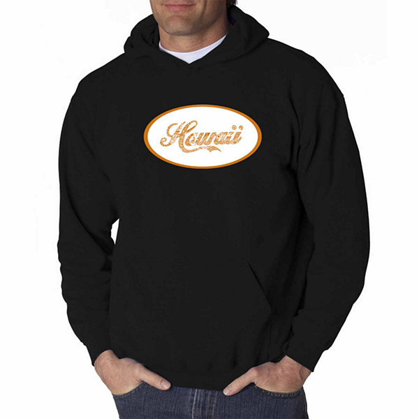 Los Angeles Pop Art Hawaiian Island Names & Imagery Long Sleeve Word Art Hoodie