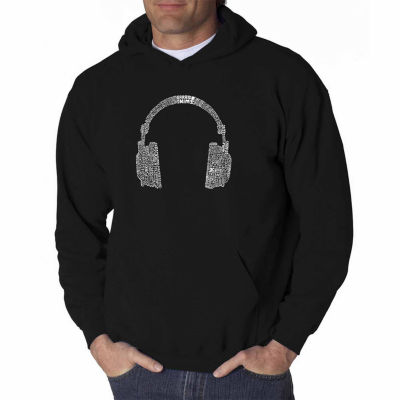 Los Angeles Pop Art 63 Different Genres of Music Long Sleeve Word Art Hoodie